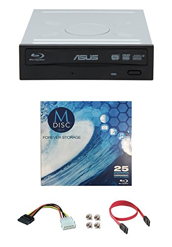 Asus 16x BW-16D1HT Internal Blu-ray Burner Drive Bundle with 1 Pack M-DISC BD, Cable Accessories and Mounting Screws (Supports BDXL and M-DISC, Retail Box)