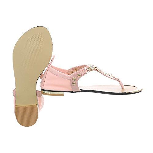 Ital-Design Zehentrenner Damenschuhe Blockabsatz Sandalen Sandaletten Pink P-669