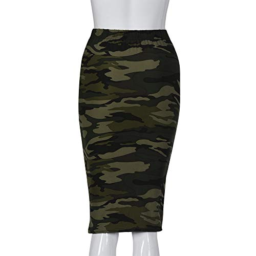 BEUU Fashion Women Pencil Mid Knee-Length Elastic High Waist Printing Skirt CE XL ()