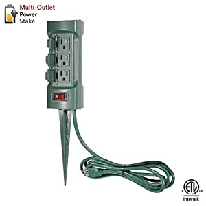 bestten 6 outlet outdoor power stake with covers 9 feet long cord green etl certified. Black Bedroom Furniture Sets. Home Design Ideas