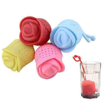 tazas tazas y teteras Random reutilizable Brussels08 para t/é Filtro de t/é de silicona con dise/ño de rosas