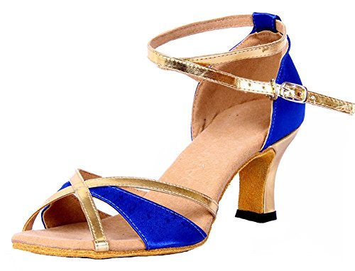 Women's Dance Heel Chunky Toe M Shoes 5 B US 6 Open Latin Blue Honeystore RdqYR