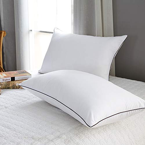 2 Pack Pillows for Sleeping-Hypoallergenic Pillow Side and Back Hotel Pillows Sleeping Soft Fiber Fill-Queen Size