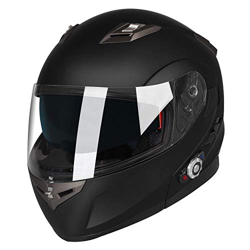 MTSBW Cascos Bluetooth para Motocicletas Levantar Visores Dobles Casco Integral Rango 500M, 2-3Riders Emparejamiento, Radio...