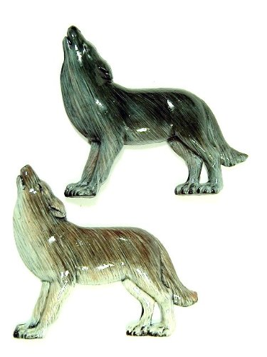 Hand Painted Assorted Wolf Refrigerator Magnet (Set of 2)