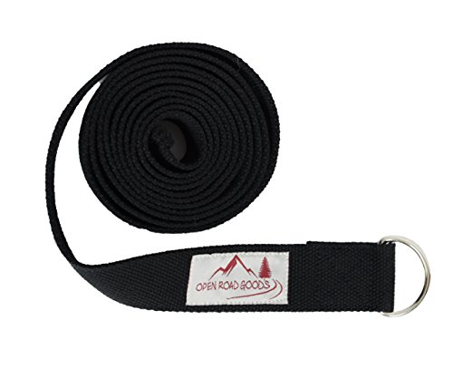 Open Road Goods 8ft Extra Long 100% Cotton Yoga Strap with Bag: Pastel Multicolor, Blue, or Black Yoga Stretching Prop with Metal D Ring Good Yoga Gift