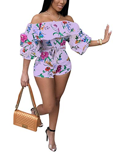 - Women Sexy One Piece Romper Outfits Pull Sleeve Floral Print Off Shoulder Short Jumpsuit Pants Set Purple M