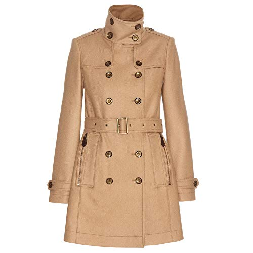 - BURBERRY DAYLESMOORE Wool Blend Belted Double Breasted Trench Coat in Camel
