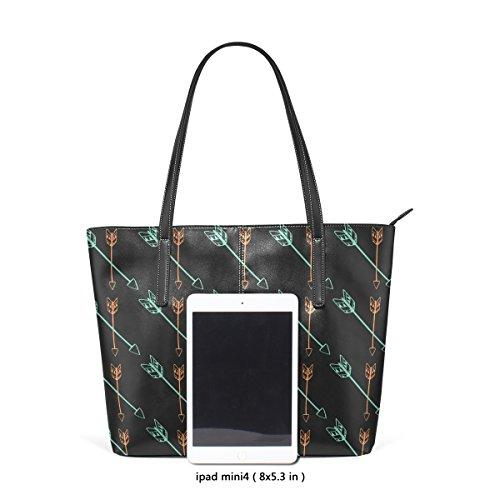 COOSUN Pfeile und Federn PU Leder Schultertasche Handtasche und Handtaschen Tasche für Frauen