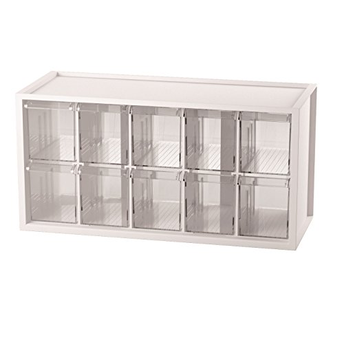 Livinbox A9 Stationery Crafts and Hardware Organizer Plastic Storage Bin with 10 Transparent Compartments - White