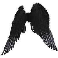 أجنحة الملاك للهالوين ، أجنحة بيضاء وأسود للكرنفال، للجنسين، مقاسات مختلفة تناسب معظم الأطفال والبالغين.