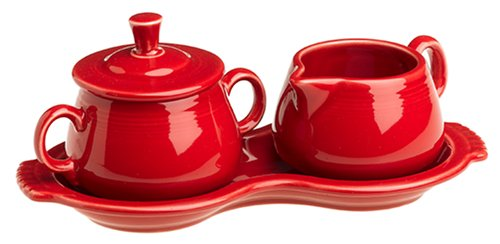 Fiesta Scarlet 821 Sugar and Creamer with Tray