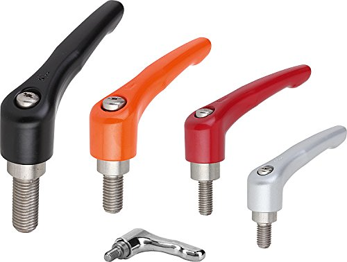 Kipp 06461-10627X15 Zinc Adjustable Handle with M6 External Thread, Modern Design Style, Stainless Steel Components, Metric, Ruby Red Powder-Coated Finish, Size 1, 15 mm Screw Length