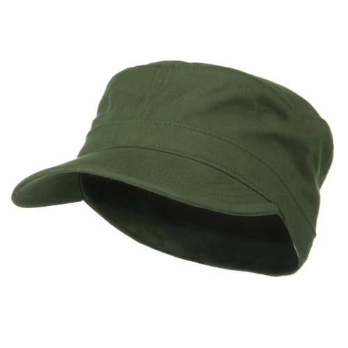 Big Size Cotton Fitted Military Cap - Olive (Military Cap Hat Olive)