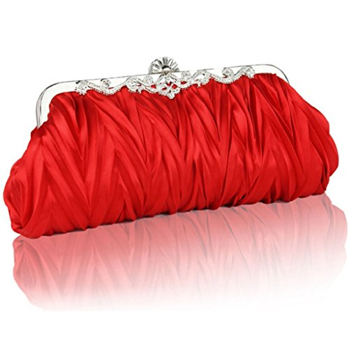 Wedding Ladies Cocktail Party Satin Purse Evening Clutch Red Bodhi2000 Bag Prom Vintage Bridal wx8Yq4Yda