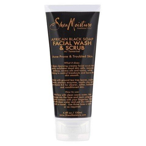 SheaMoisture African Black Soap problème peau faciale lavage et gommage - 4 onces
