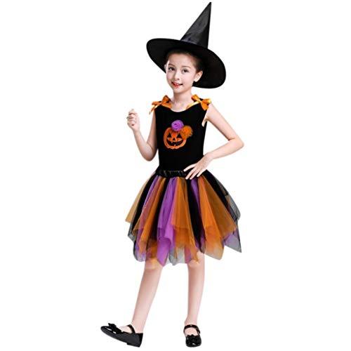 Halloween Skirt Set for Kids Girl, 3PCS Baby Girl Pumpkin Print Asymmetrical Dress+ Tops+ Hat Clothes Set (160, Orange) by Xchenda (Image #6)