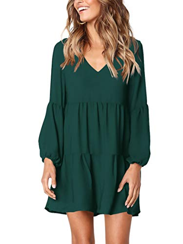 Amoretu Women Long Sleeve Tunic Dress V Neck Swing Shift Dresses(Green,Small)