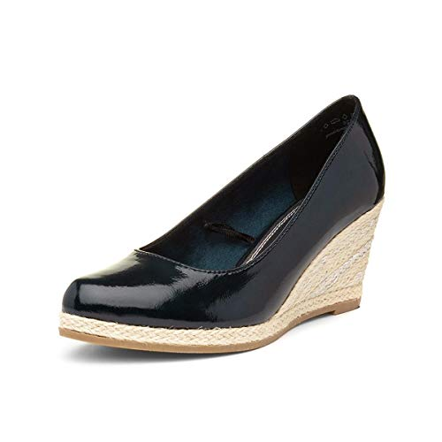 MARCO TOZZI Womens Navy Hessian Wedge Court Shoe