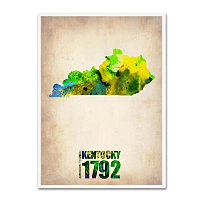 Trademark Fine Art Kentucky Watercolor Map by Naxart Canvas Wall Art