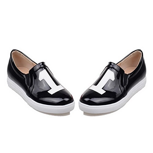Shoes Heels On Leather Pull Color Women's Low Black Pumps Patent VogueZone009 Assorted 4pwg7xqR
