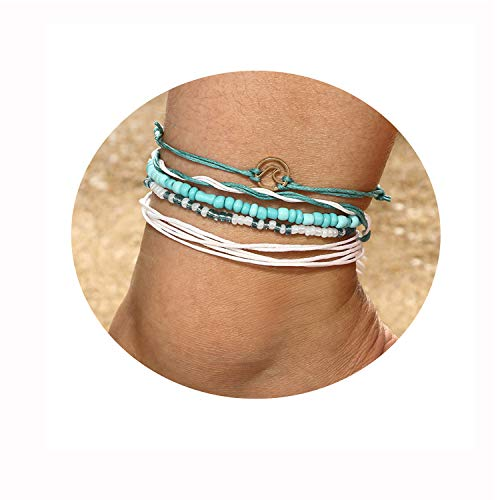 Eivanc Multilayer Metal Anklet Crystal Shell Adjustable Turtle Tassel Tree of Life Anklet Beads Sea Handmade Layered Boho Anklet Foot Jewelry Gold Chain Anklet Heart Beach Anklet for Women ()