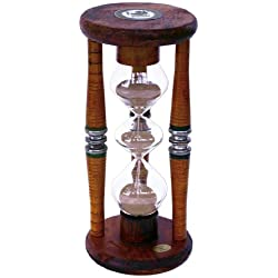 River City Clocks Three Tier Five Minute Antique Wood Sand Timer, 9-Inch Tall