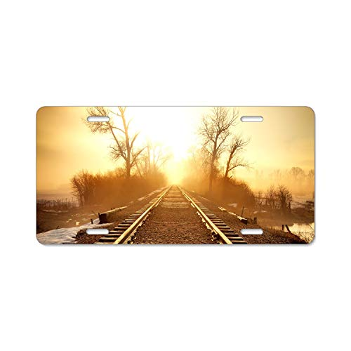 Kefanlk Railroad Tracks Sunrise Landscape Home,Bathroom and Bar Wall Decor Car Vehicle License Plate Metal Tin Sign Plaque