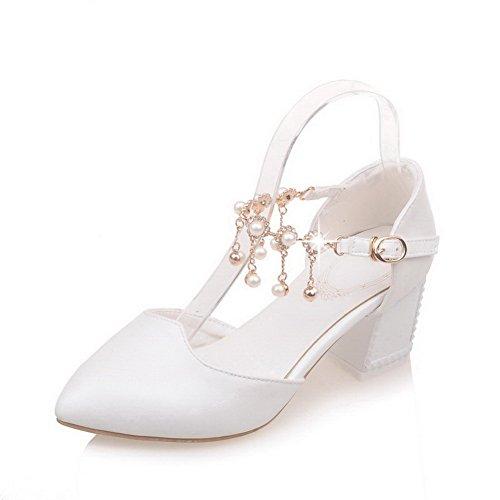 VogueZone009 Damen PU Leder Mittler Absatz Spitz Zehe Eingelegt Schnalle  Pumps Schuhe Weiß