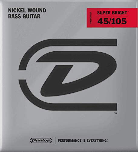 Dunlop DBSBN45105 Super Bright Bass Strings, Nickel Wound, Medium, .045-.105, 4 Strings/Set