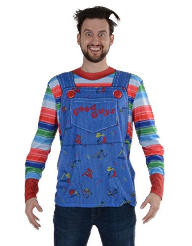Faux Real Men's Chucky Long Sleeve Tee Shirt, Multi, X-Large