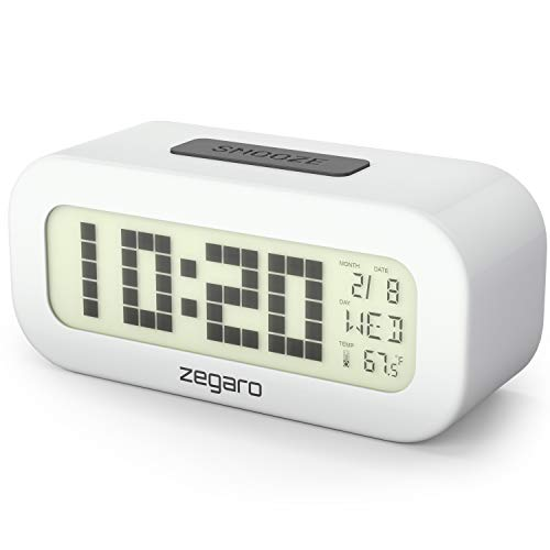 (Zegaro Digital Alarm Clock for Bedroom - Large 4.2'' LCD Display with Blue LED Back Light (2019 Model) | Big Numbers, Date & Temperature | Easy to Use, Battery Operated | Stainless Steel Case | White)
