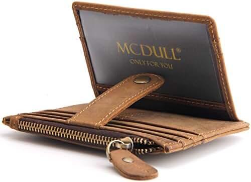 Mcdull Genuine Leather Card Case Wallet Slim Front Pocket Zipper Money Purse