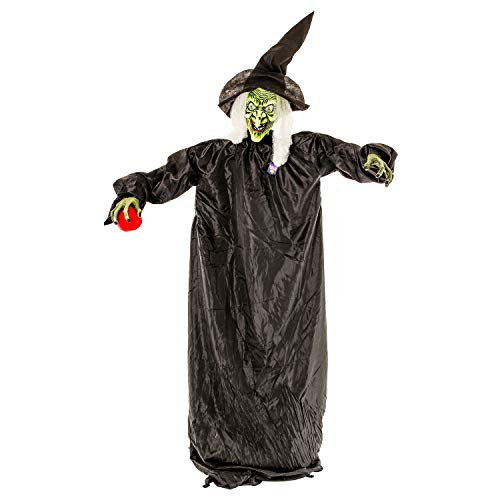 Halloween Haunters 5 foot Animated Standing Wicked Witch with Red Apple Casting Spell and Cackles Prop Decoration - Flashing Red LED Eyes, Black Hat & Green Face, Laughs - Haunted House Entryway Party -