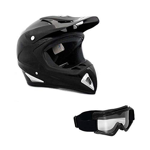(Adult Motorcycle Off Road Helmet DOT - MX ATV Dirt Bike Motocross UTV (L, Shiny Black). Includes Goggles)