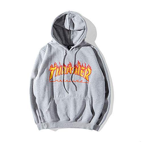 (Dolpint Unisex Thrasher Flame Mag Hoodie Cool Modern Personalized Sweatshirt (Gray, M) )