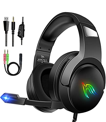 LANSNOW Gaming Headset for PS4 PC Xbox One PS5 Controller, Surround Sound Noise Cancelling Headphones with Mic, RBG LED Light, Soft Memory Earmuffs, Over Ear Headset with Microphone for Laptop, Mac