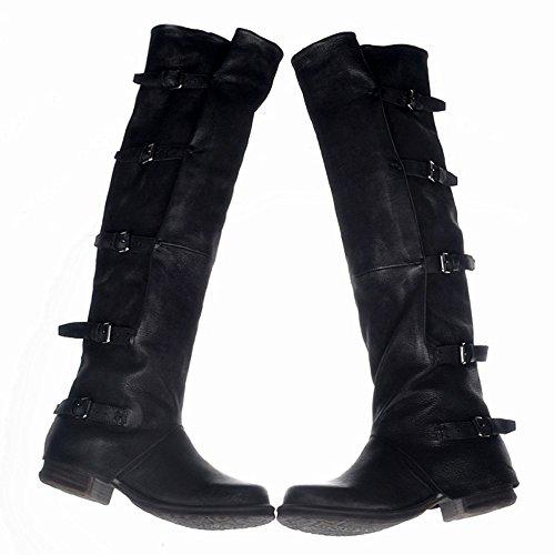 Jinfu Womens Lederen Klinknagel Bandage Lace Up Ridder Rijden Knie Laarzen Rits Schoenen (us 8)