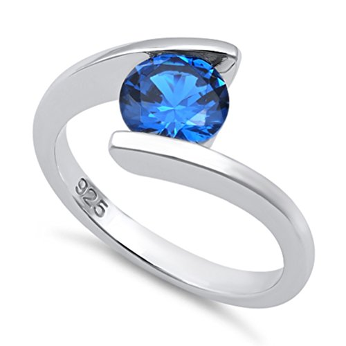 - STERLING SILVER SIMULATED SAPPHIRE BYPASS SOLITAIRE TENSION RING-(SIZE 4-11) (7)