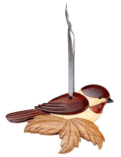 (Chickadee Christmas tree Ornament Handcrafted Intarsia Wood Mosaic Double Sided with Ribbon)