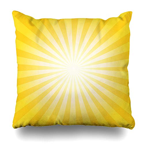 Ahawoso Throw Pillow Cover Effect Graphic Abstract Sunburst Yellow Orange Lines For Nature Sun Summer Mood Burst Creative Design Decorative Pillowcase Square Size 16