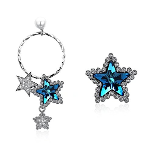 FENDINA Unique Star Cluster Drop Earrings Ocean Blue Crystal CZ Sterling Silver Plated Hypoallergenic Hoop Stud Earrings Asymmetric - Glasses Look That Fake Real Cute