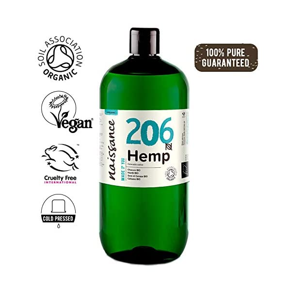 Naissance Organic Cold Pressed Virgin Hemp Seed Oil (no. 206) 1 Litre – Certified Organic, Vegan, Unrefined. Rich in Omega 3, 6 and 9
