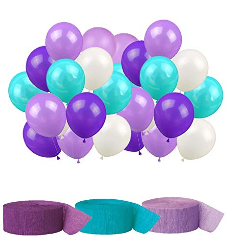 Mermaid Party Supplies Birthday Mermaid Party Decorations Latex Balloons and Crepe Paper Streamer Hanging Party Decorations Kit - Teal Lavender Purple