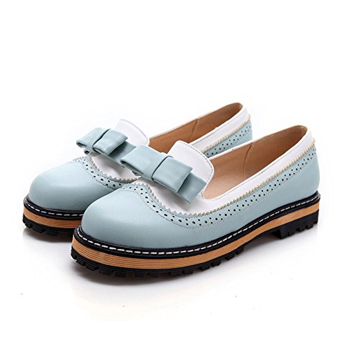 getmorebeauty Women's Blue and White Vintage Loafers Bows Flats Wedge Shoes 8 B(M) US