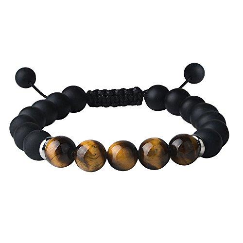 Man Made Stone (Jeka Lava Stone Bracelet Stretch Beads Black Healing Jewelry for Men Women Handmade Braided Adjustable (Onyx 10mm))