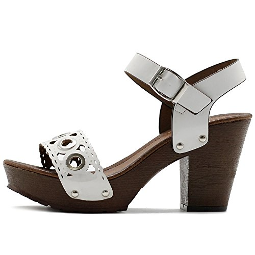 Ollio Cutout Ankle Strap Sandals Heeled Chunky Shoe Platform White Scalloped Women's rW4Trq