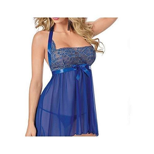 Moda Reggiseno sexy delle donne di modo delle ragazze Sexy pigiama da notte Blu Elf Seduzione Taglia L Blu Blu