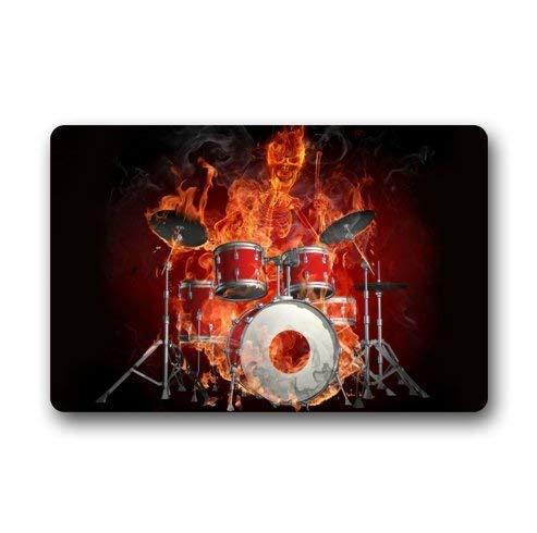 Custom Rock Flaming Drum Set/Drum kit Musical Instrument Durable Indoor/Outdoor Stain - Resistant Door Mat 23.6