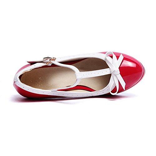 Alti Talloni Rotonda scarpe Donne Fibbia Punta Rosso Pompe Delle Di Weenfashion Chiusa Assortiti Colore xpEddqnwBt